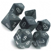 Grey & White 'High Tech' Speckled Polyhedral 7 Dice Set